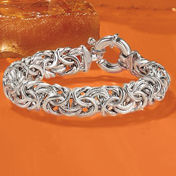 Italian Sterling Silver Textured and Polished Byzantine Bracelet, , default