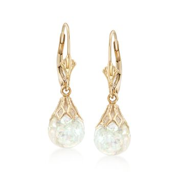 Floating Opal Drop Earrings in 14kt Yellow Gold, , default