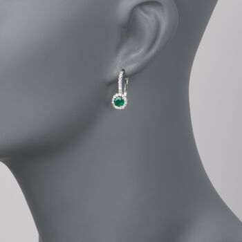 1.00 ct. t.w. Emerald and .60 ct. t.w. Diamond Earrings in 14kt White Gold, , default