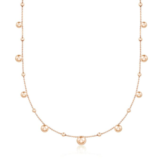 Italian 18kt Rose Gold Over Sterling Silver Multi-Bead Station Necklace, , default