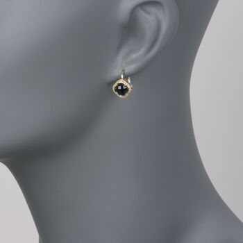 Andrea Candela Black Onyx Clover Earrings in Two-Tone, , default