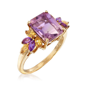 2.50 Carat Ametrine Floral Ring with Citrines and Amethysts in 14kt Yellow Gold