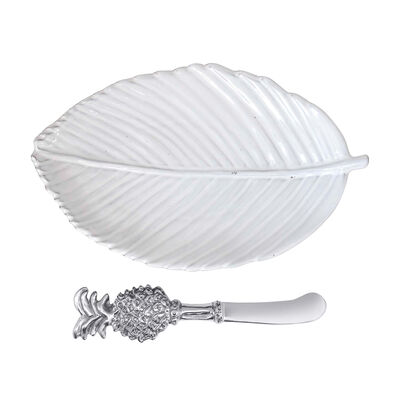 Mariposa Leaf Ceramic Plate with Pineapple Spreader, , default