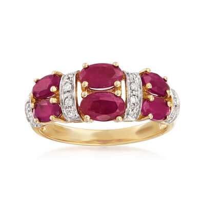 2.60 ct. t.w. Ruby and Diamond-Accented Ring in 14kt Yellow Gold, , default