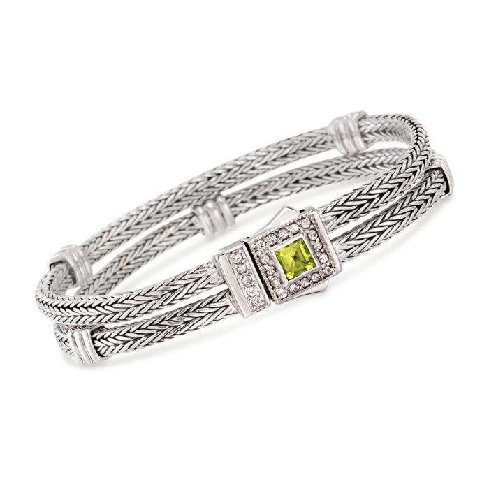 "Phillip Gavriel ""Woven"" .80 Carat Peridot and .50 ct. t.w. White Sapphire Station Link Bracelet in Sterling Silver. 7.25"""