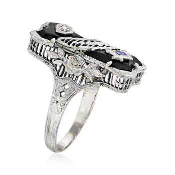 C. 1960 Vintage Diamond-Accented Black Onyx Masonic Ring in 14kt White Gold. Size 5.5
