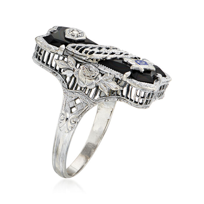 C. 1960 Vintage Diamond-Accented Black Onyx Masonic Ring in 14kt White Gold