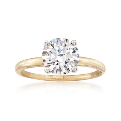2.00 Carat CZ Solitaire Ring in 14kt Yellow Gold