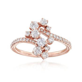 .84 ct. t.w. Diamond Cluster Bypass Ring in 14kt Rose Gold, , default