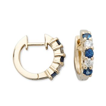 ".60 ct. t.w. Sapphire and .25 ct. t.w. Diamond Hoop Earrings in 14kt Yellow Gold. 7/16"", , default"