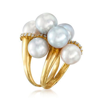 C. 1980 Vintage Cultured Pearl and .35 ct. t.w. Diamond Cluster Ring in 18kt Yellow Gold. Size 6, , default
