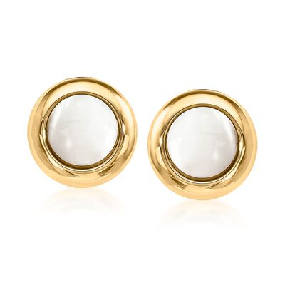 12mm Mother-Of-Pearl Clip-On Earrings in 14kt Yellow Gold