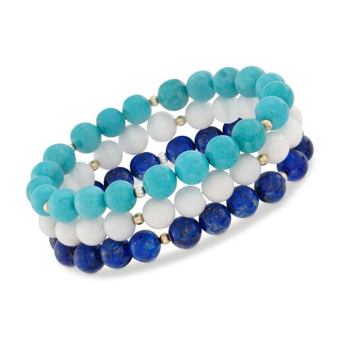 8mm Blue and White Multi-Stone Bead Jewelry Set: Three Stretch Bracelets