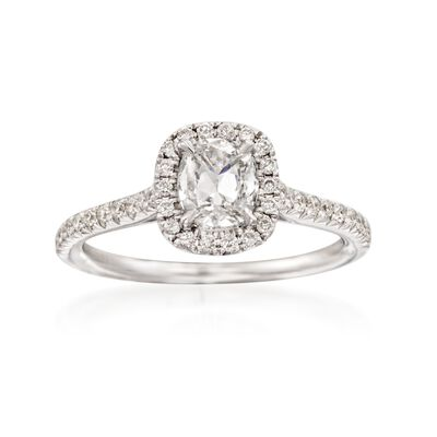 Henri Daussi 1.01 ct. t.w. Diamond Halo Engagement Ring in 18kt White Gold, , default