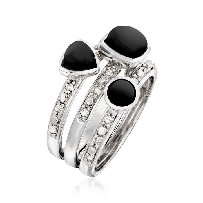 Black Onyx and .20 ct. t.w. Diamond Jewelry Set: Three Rings in Sterling Silver