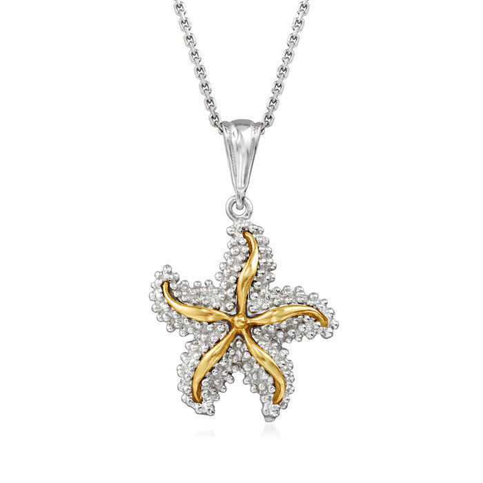 Sterling Silver and 14kt Yellow Gold Starfish Pendant Necklace