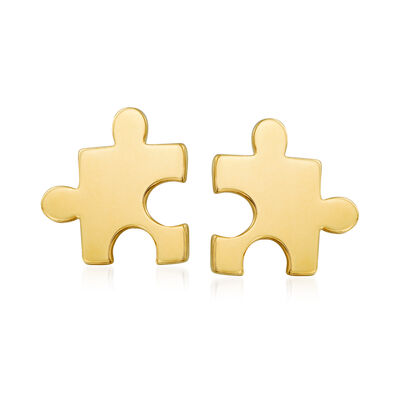 14kt Yellow Gold Puzzle Piece Stud Earrings