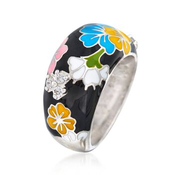 """Belle Etoile """"Constellations: Sakura"""" Multicolored Enamel and .15 ct. t.w. CZ Ring in Sterling Silver. Size 7"""