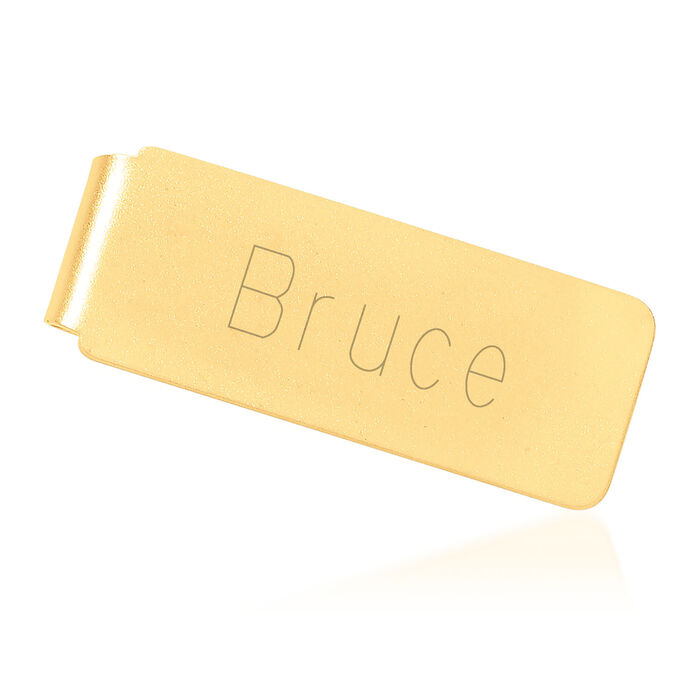 14kt Yellow Gold Brushed Engravable Money Clip