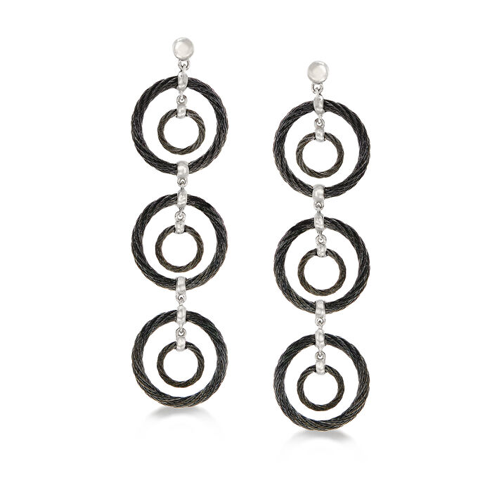 """ALOR """"Noir"""" Black Stainless Steel Cable Multi-Circle Drop Earrings with 18kt White Gold, , default"""