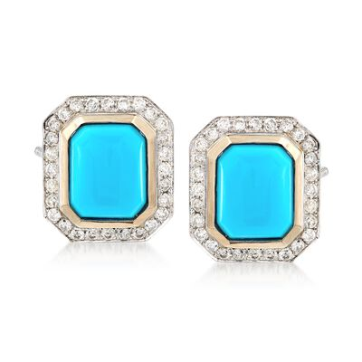 C. 1980 Vintage Turquoise and .90 ct. t.w. Diamond Frame Earrings in 14kt White Gold, , default