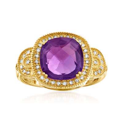 3.30 Carat Amethyst and .15 ct. t.w. Diamond Ring in 14kt Yellow Gold