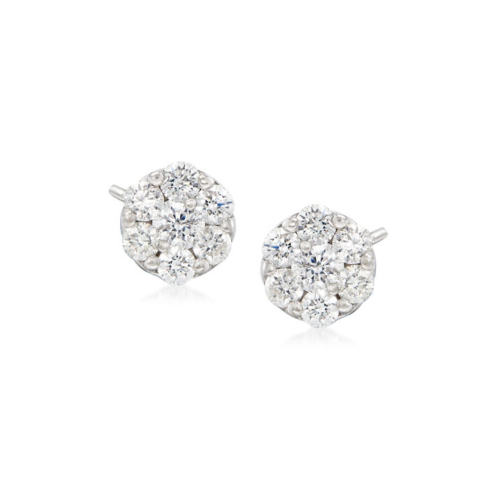 .50 ct. t.w. Diamond Flower Cluster Earrings in 14kt White Gold, , default