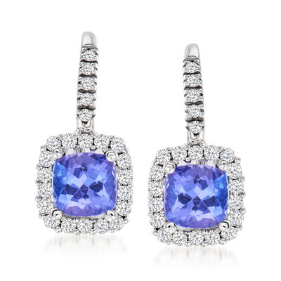 2.50 ct. t.w. Tanzanite and .52 ct. t.w. Diamond Drop Earrings in 14kt White Gold