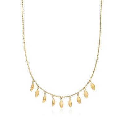 14kt Yellow Gold Leaf Station Necklace, , default