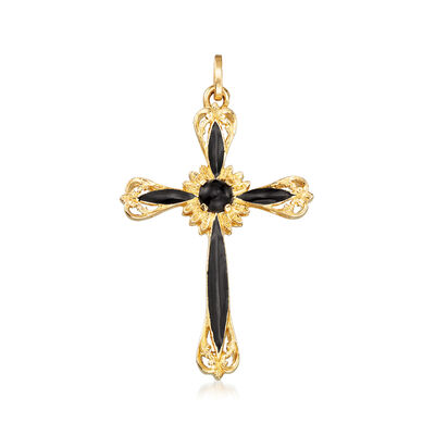 Italian Black Onyx and Black Enamel Cross Pendant in 14kt Yellow Gold