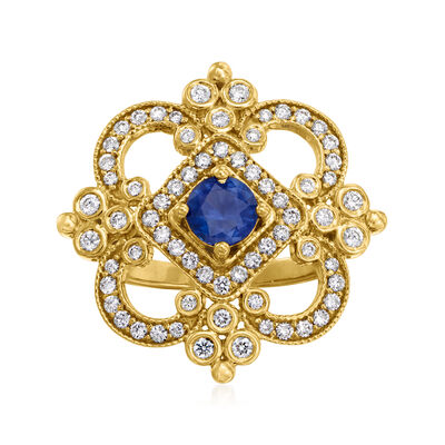 C. 1990 Vintage Tresorra .74 Carat Sapphire and .80 ct. t.w. Diamond Ring in 18kt Yellow Gold
