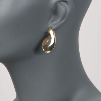 """Italian 18kt Yellow Gold Flat Twisted Hoop Earrings. 1 3/8"""", , default"""