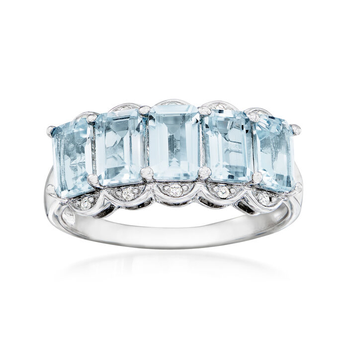 2.45 ct. t.w. Aquamarine Ring with Diamonds in Sterling Silver