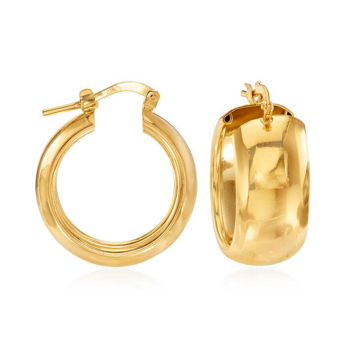 "Italian 18kt Gold Over Sterling Hoop Earrings. 7/8"""