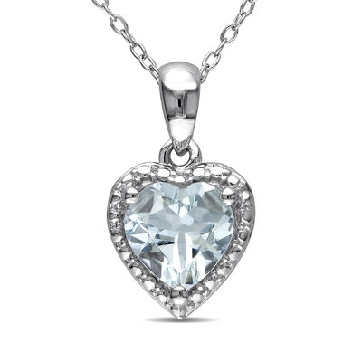 1.50 Carat Aquamarine Heart Pendant Necklace in Sterling Silver