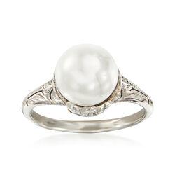 C. 1950 Vintage 9mm Cultured Pearl Filigree Ring in Platinum , , default