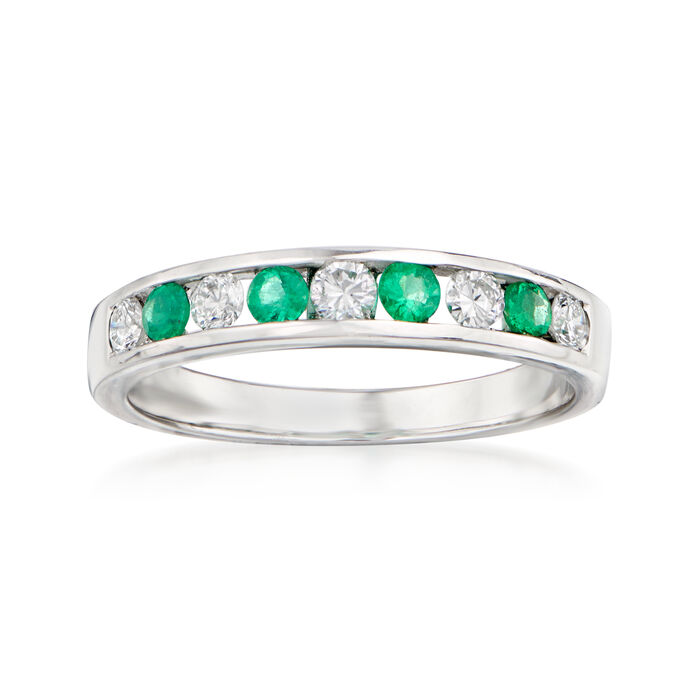 .28 ct. t.w. Diamond and .10 ct. t.w. Emerald Ring in 18kt White Gold