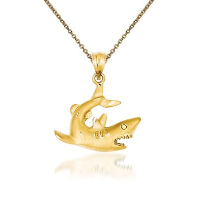 14kt Yellow Gold Shark Pendant Necklace, , default