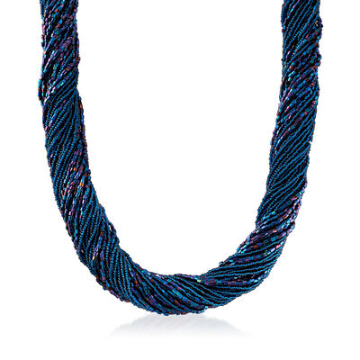 Italian Blue Murano Glass Bead Torsade Necklace with 18kt Yellow Gold Over Sterling Silver, , default