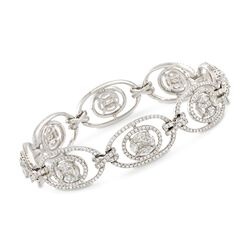 "7.37 ct. t.w. Diamond Oval Link Cluster Bracelet in 14kt White Gold. 7"", , default"