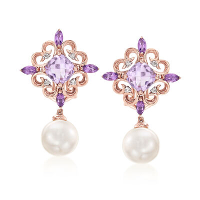 8.5-9mm Cultured Pearl Drop Earrings with 2.40 ct. t.w. Amethyst and Diamond Accents in 14kt Rose Gold, , default