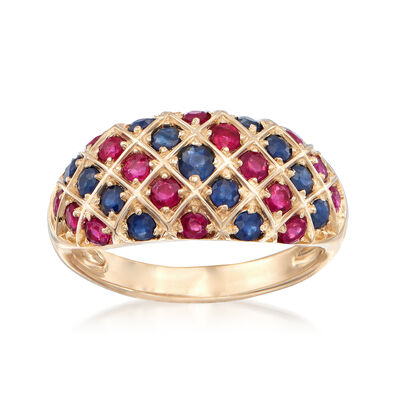 .80 ct. t.w. Ruby and .70 ct. t.w. Sapphire Dome Ring in 14kt Yellow Gold, , default