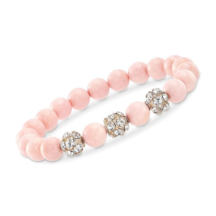 "8mm Pink Shell and 8mm Crystal Stretch Bracelet. 7"", , default"