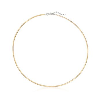 Italian 2mm Two-Tone Sterling Silver Reversible Omega Necklace, , default