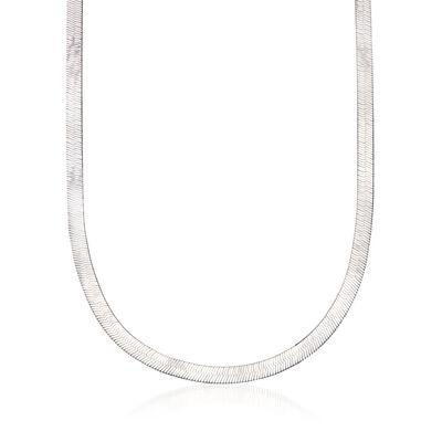 Italian 6mm Sterling Silver Herringbone Chain Necklace, , default