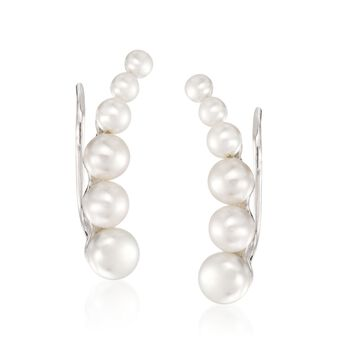 3-6mm Cultured Pearl Ear Crawlers in Sterling Silver, , default