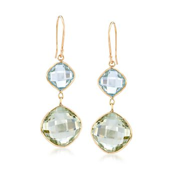 13.00 ct. t.w. Green Amethyst and 6.00 ct. t.w. Blue Topaz Drop Earrings in 14kt Yellow Gold, , default