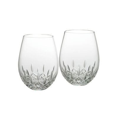 "Waterford Crystal ""Essence"" Set of 2 Lismore   Stemless Glass for Deep Red Wine"