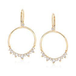 1.45 ct. t.w. Diamond Open Circle Drop Earrings in 14kt Yellow Gold, , default