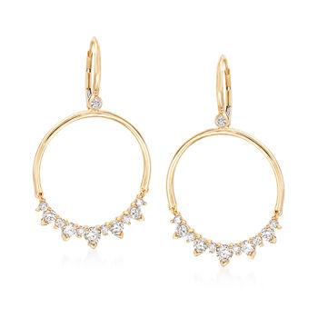 "1.45 ct. t.w. Diamond Open Circle Drop Earrings in 14kt Yellow Gold. 1 5/8"", , default"